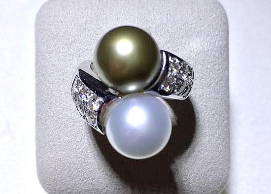 18k白金 南洋珍珠造型豪華女用鑽戒
