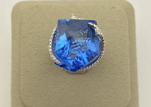 18K白金 天然海藍寶 造型女用鑽戒