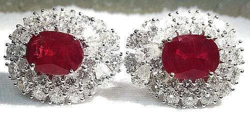 18K 白金 豪華紅寶鑚項鍊 鑽手鍊 鑚耳飾套飾 女用