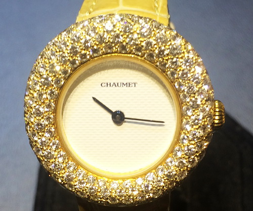 CHAUMET 尚美錶 18k黃金 原裝鑚圈珠寶錶 女用