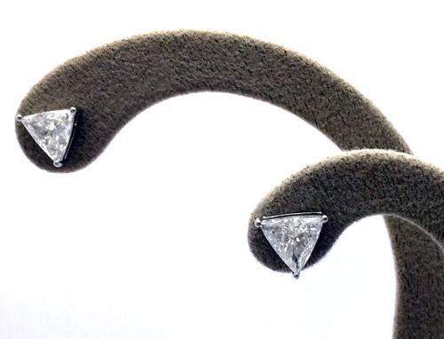 鑽石耳飾 白金18K 三角造型 女用