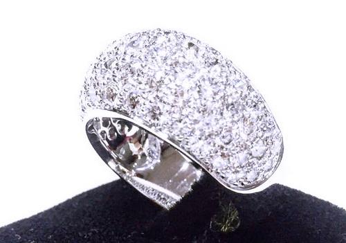 CARTIER 18K白金 密釘鑲造型美鑽戒 女用