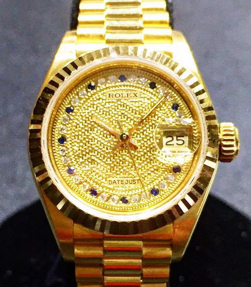 ROLEX 藍寶多層鑽面 18k金 蠔式恆動日期型 Ref.69178 腕錶 女用