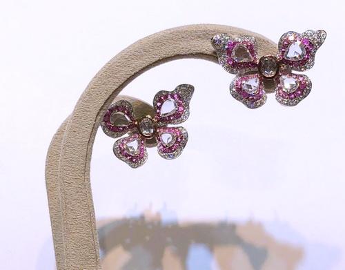蝴蝶造型鑽耳環 鑽戒套飾 豪華造型台 女用
