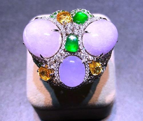 18K白金 翡翠 紫羅蘭 鴿子蛋面 豪華戒指