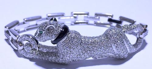 18k白金 美洲豹造型鑽手鍊 女用