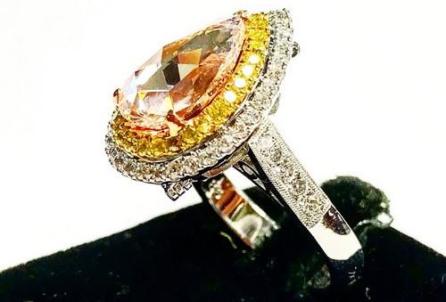 18k白金 主鑽水滴約2.90CTS 豪華彩鑽造型鑽戒 女用