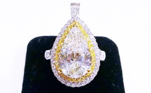 18k白金 主鑽水滴約5.18CTS 豪華兩用造型鑽石 女用