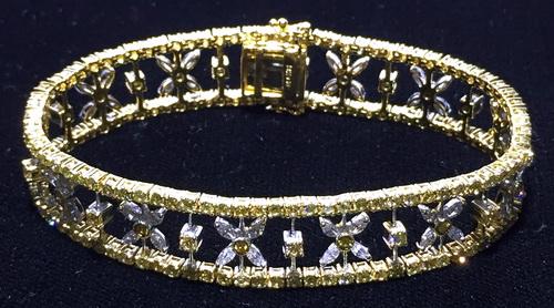 彩鑽 雙色金 造型鑽手鍊 女用