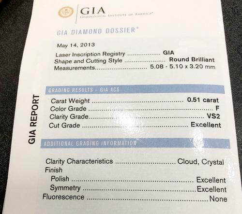 G.I.A 18k白金 主鑽0.51 CTS 顏色F 八心八箭 六爪鑽戒 女用