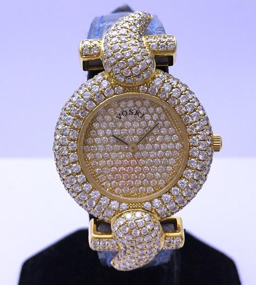 VOSKI 18K黃金 原裝鑽錶 女用