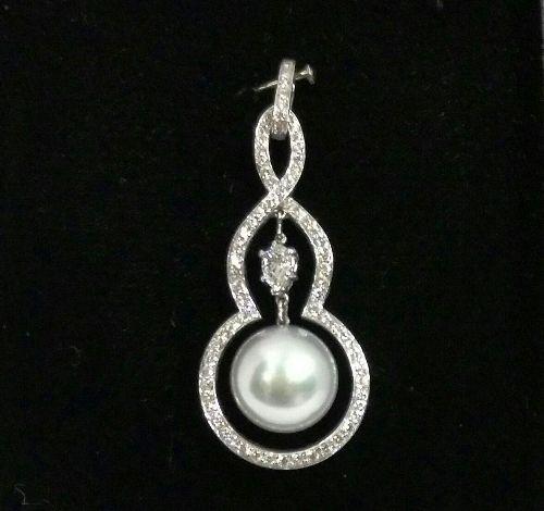18K白金 珍珠造型女用鑽墜 女用