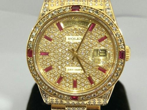 Rolex 勞力士 18038 H.K. Day-Date 18K金紅寶T鑽滿天星面鑽圈鑽帶