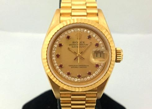 ROLEX 紅寶多層鑽面 18k金 蠔式恆動日期型 Ref.69178 腕錶 女用