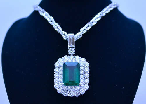 GRS證書/哥倫比亞 祖母綠鑽項鍊 / 主石重約16.08 CTS / 豪華鑽項鍊 / 女用