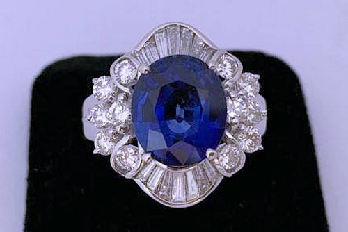 白金18K 錫蘭藍寶 主石/ 5.12CTS 豪華鑽戒 女用