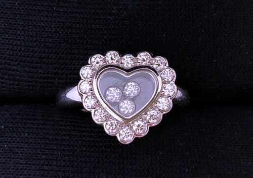 CHOPARD 蕭邦 18k白金 Happy Diamonds 造型鑽戒  鑽項鍊 鑽耳飾套組 女用