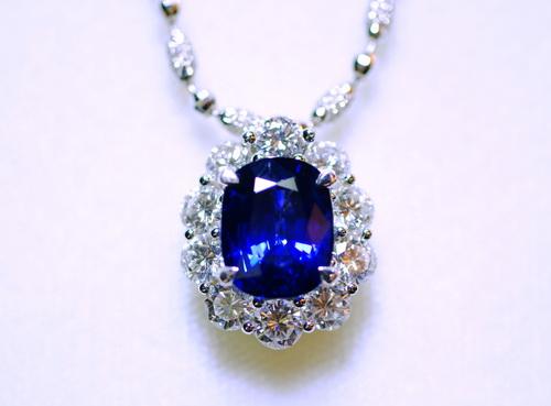 GRS證書 18k白金 主石/ 5.96CTS 錫蘭藍寶女用項鍊