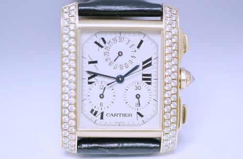 CARTIER 卡地亞 黃K金 計時 FRANCAIS TANK 系列 鑽錶