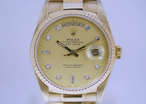 ROLEX 勞力士 18黃K金 蠔式恆動 日期型 Ref. 18038 腕錶 男用