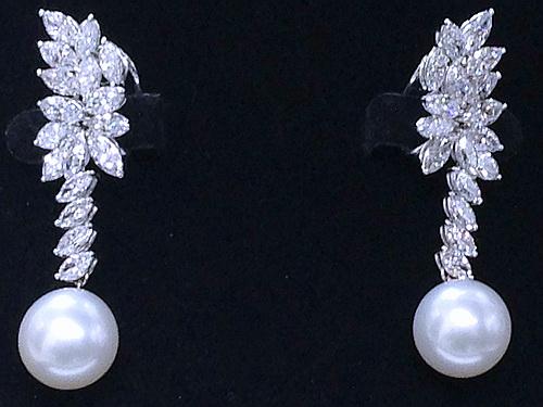 18k 白金 天然南洋珍珠 豪華造型鑚耳飾 女用