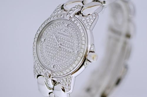貝托魯奇BERTOLUCCI 白金18K 滿天星 原裝 中型鑚錶
