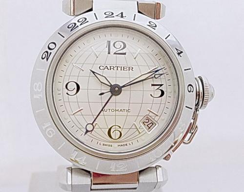 CARTIER卡地亞 精鋼 PASHA 系列 兩地時間GMT 女用