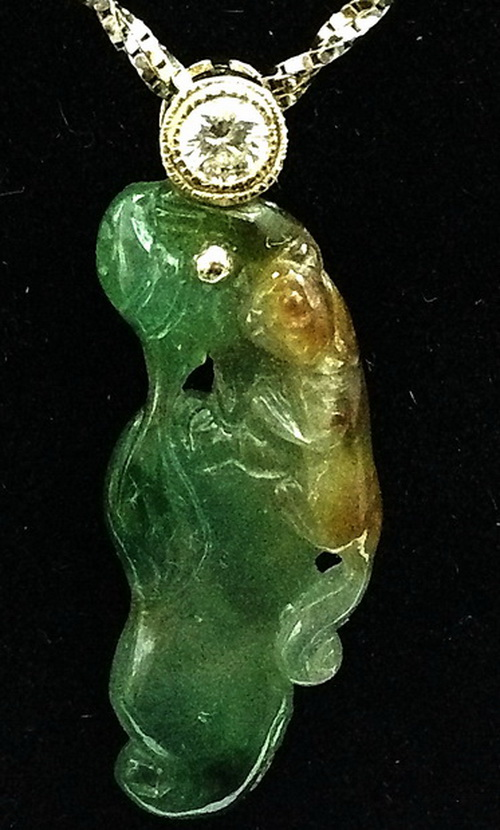 18K黃金 翡翠鑚石項鍊 女用