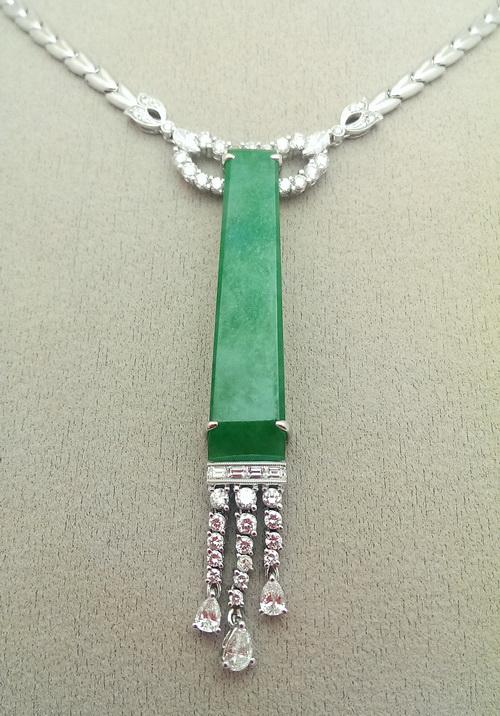 緬甸A貨 天然翡翠造型鑽項鍊 女用