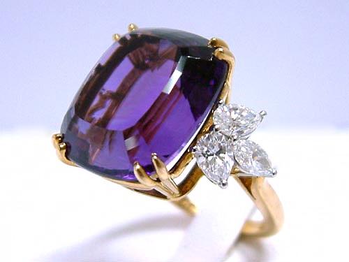 TIFFANY&CO 18K黃金 紫水晶 造型鑽戒 女用