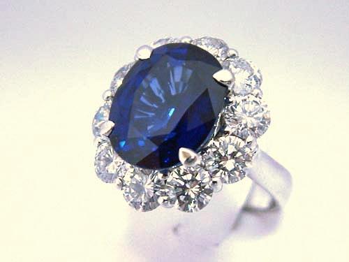 18k白金 錫蘭藍寶造型鑽戒 女用