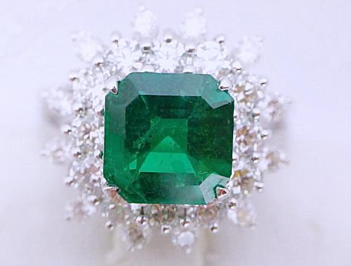 18K白金 豪華台 主石2.06CTS 哥倫比亞 方型祖母綠鑽戒 女用