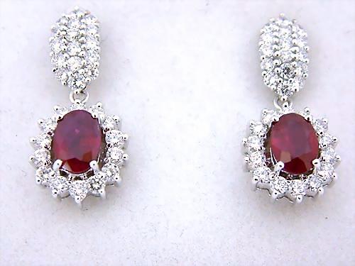 白金18K 紅寶鑽耳環 主石各1.29CTS 女用 各搭配14PCS配鑽