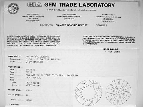G.I.A 主鑽 2.09CTS/ 18K白金 成色H 淨度/ VVS1 六爪造型鑽墜