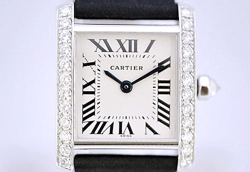 CARTIER 卡地亞 18K白金 FRANCAISE TANK 系列 原裝鑽錶 女用