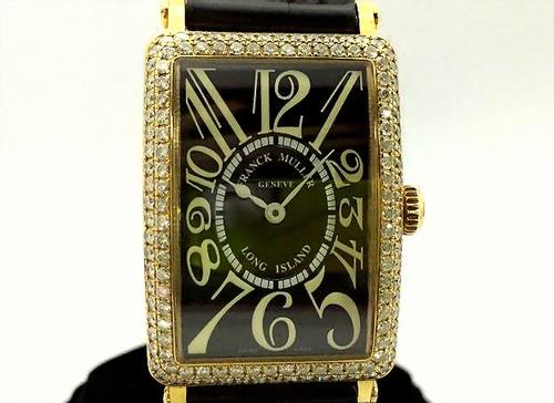 F.M 法蘭克穆勒 18黃K金 REF.950 QZD LONG ISLAND 系列 珠寶錶 女用