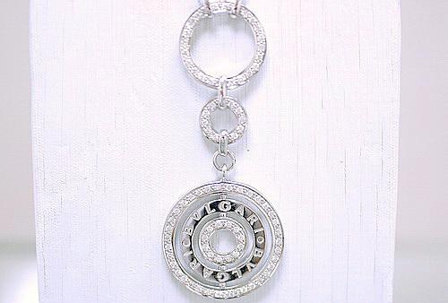 名牌造型 同心圓 白K金鑽石項鍊