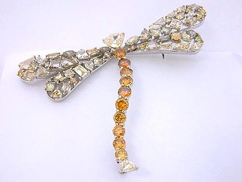 蜻蜓造型彩鑽胸針