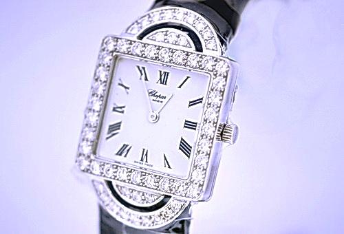 CHOPARD 蕭邦 18k白金 珠寶錶 女用