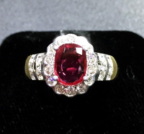 18K雙色金 豪華紅寶鑽石戒指 女用
