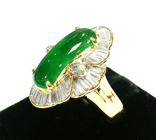 馬鞍造型 18K黃金 翡翠鑚石戒指 女用