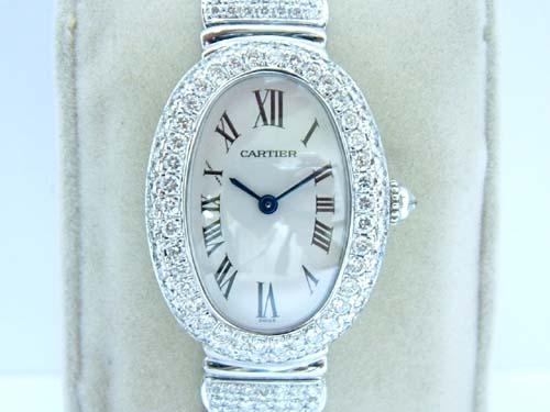 CARTIER 卡地亞 18k白金 BAIGNOIRE 系列 腕錶 女用
