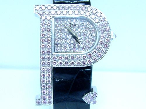PIAGET 伯爵 18k白金 P字粉紅鑽系列 珠寶錶 女用