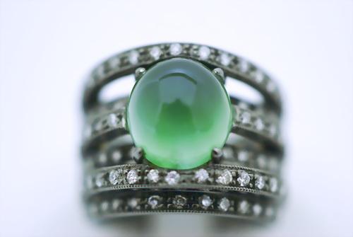 葡萄石 造型黑金配鑽 女用戒指